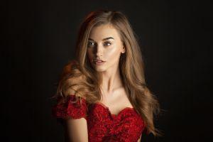 women long hair simple background model portrait