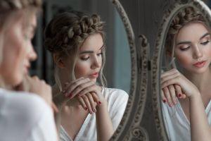 women makeup women indoors painted nails white tops portrait reflection mirror vyacheslav scherbakov depth of field face valeria belyaeva