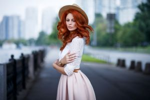 women maksim romanov portrait redhead women outdoors hat arms crossed