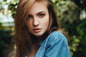 women model denim shirt closeup women outdoors face jeans shirt portrait brunette hair in face long hair green eyes