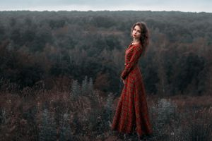 women model dress women outdoors red dress