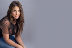 women nadia bjorlin brunette black tops singer simple background jeans long hair blue eyes looking at viewer portrait