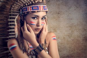 women native american clothing asian people model photography