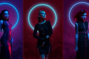 women neon tattoo collage neon lights photo manipulation inked girls model circle dress