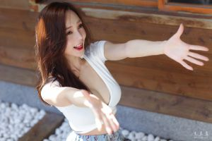 women outdoors asian brunette happy portrait tongues model necklace white tops looking away cleavage women smiling