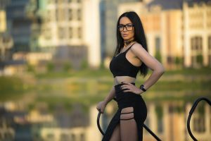 women outdoors black clothing women with glasses black nails choker depth of field women skirt portrait