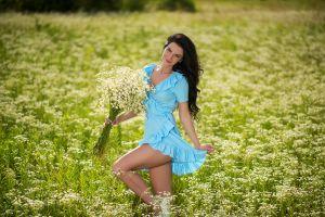 women outdoors blue dress portrait long hair women brunette smiling