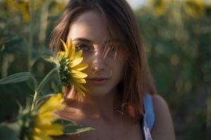 women outdoors blue eyes women brunette bokeh portrait blurred looking at viewer face sunlight bare shoulders depth of field