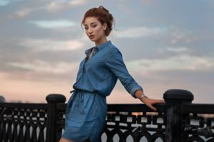 women outdoors blue eyes women redhead portrait red nails dmitry sn fence denim looking at viewer