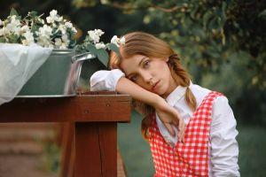 women outdoors brunette women shirt braids portrait outdoors white shirt dress ksenia kokoreva flowers looking at viewer model