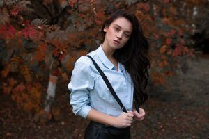 women outdoors dark hair model women lenar abdrakhmanov 2018 (year) leaves