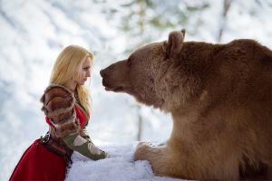 women outdoors darya lefler red dress fantasy girl model bears outdoors corset winter snow cosplay face to face women blonde photography