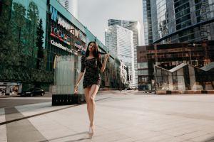 women outdoors dress sneakers minidress brunette yura warner women public building tight dress