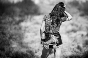 women outdoors leotard rollerskates model brunette women shorts rear view nature tattoo monochrome long hair