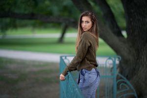 women outdoors looking at viewer women face jeans brunette robert chrenka long hair park