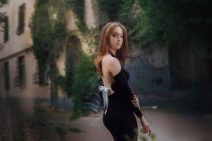 women outdoors portrait black dress women