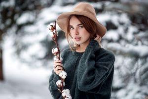 women outdoors redhead hat sergey sorokin women portrait