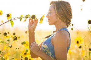 women outdoors sunflowers smiling flowers women blonde