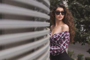 women outdoors sunglasses model women with shades portrait shirt brunette long hair bare shoulders women