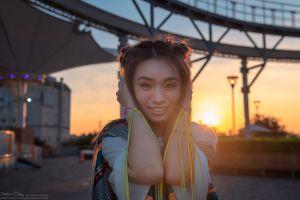 women outdoors sunlight smiling women asian urban model