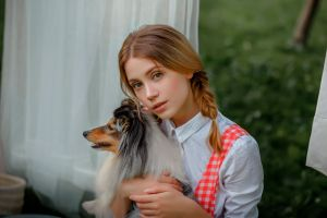 women outdoors white dress dog women white clothing portrait ksenia kokoreva pigtails blonde