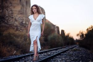 women outdoors white dress dress railway women
