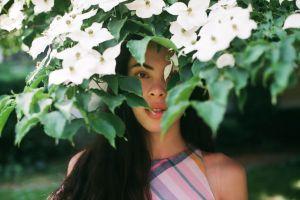 women outdoors women blossoms