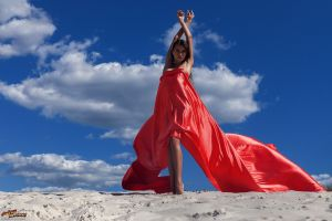 women outdoors women model red arms up