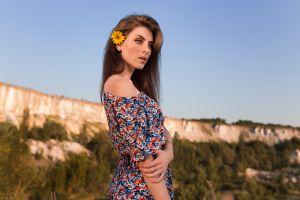 women outdoors women nadya flower in hair dmitry shulgin