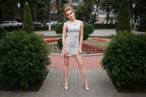 women outdoors women portrait high heels blonde dress dmitry sn park