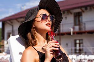 women outdoors women with hats model portrait coca-cola brunette women women with shades drinking straw depth of field