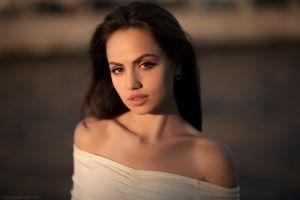 women pink lipstick face brunette bare shoulders looking at viewer women outdoors portrait