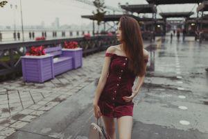 women portrait hand bags dress alexander belavin red nails