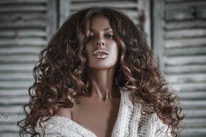 women portrait long hair anton harisov 500px brunette model curly hair