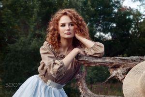 women portrait redhead looking away 500px curly hair model bokeh photography women outdoors