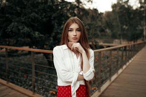 women portrait women outdoors eyeliner polka dots white shirt