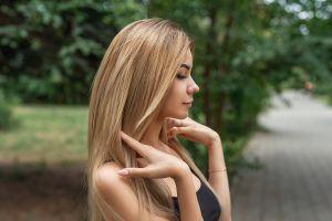 women profile long hair blonde portrait side view pink nails