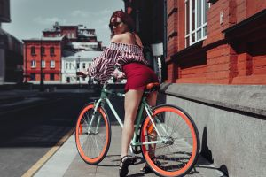 women sandals bare shoulders ass high waisted bokeh fixed gear fixie women with bicycles sunglasses redhead