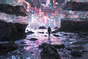women sea upside down rock fantasy art surreal digital art futuristic cyberpunk rocks city
