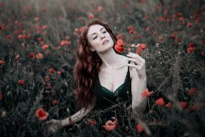 women simone arati field women outdoors pale redhead flowers portrait cleavage dark eyes depth of field face long hair poppies