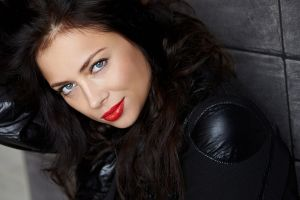 women singer russian women actress smiling red lipstick brunette blue eyes nastasya samburskaya