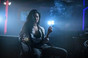 women smoking dark model