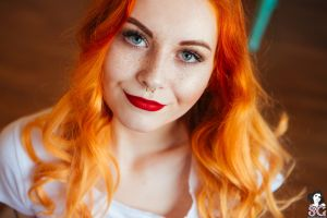 women suicide girls white shirt loveless suicide looking at viewer redhead model pale women indoors bokeh pierced nose red lipstick gray eyes piercing freckles