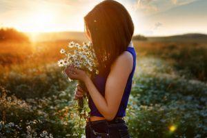 women sunset depth of field sunlight field flowers model brunette women outdoors