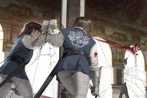 women sword reflection fantasy art blood mirror cracked gauntlets palace
