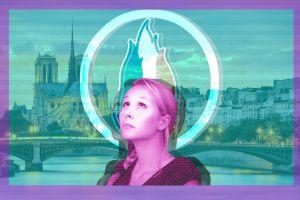 women vaporwave france  looking up digital art