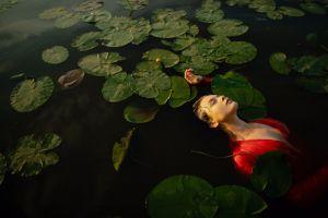 women water wet clothing women outdoors closed eyes brunette wet hair model water lilies