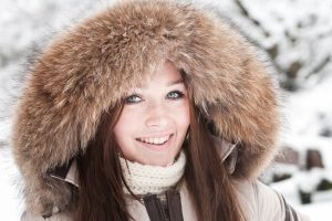 women winter happy smiling scarf hoods gray eyes open mouth jacket brunette pink lipstick model looking at viewer