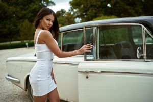 women with cars tanned women women outdoors portrait white clothing tight dress