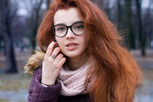women with glasses portrait jacket women glasses blue eyes bokeh purple clothing women outdoors long hair hand on face scarf redhead face juicy lips